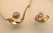 Wavecrest, 18K Yellow Gold and Diamond Necklace and Ring Set
