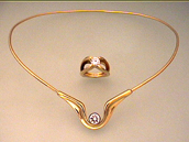 Fibula, 18K Yellow Gold Diamond Necklace, with Infinity Ring